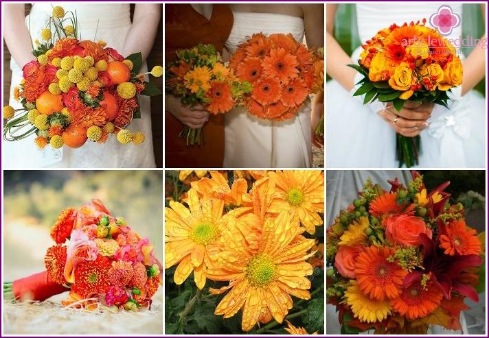 Flower arrangement for honeymoon with chrysanthemums