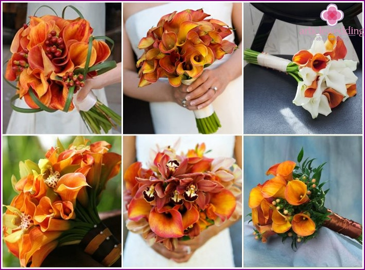 Wedding bouquet with orange calla lilies