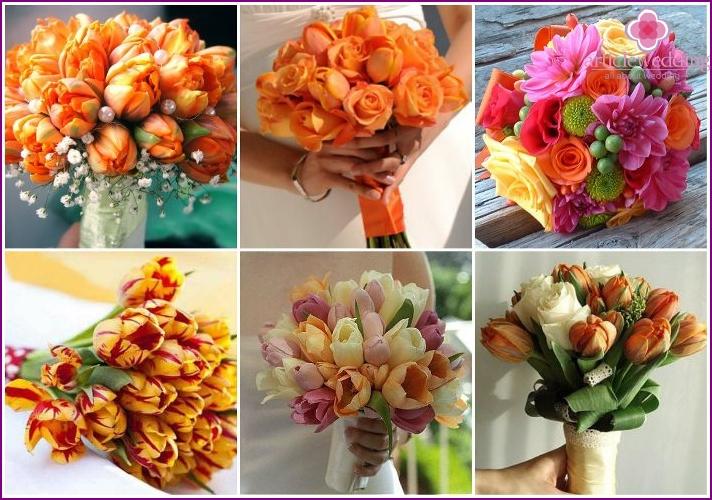 Bright tulips in a bride's bouquet