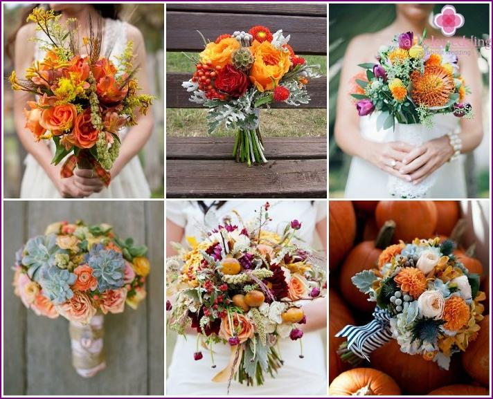Blumensträuße für die Braut der gelben Blumen