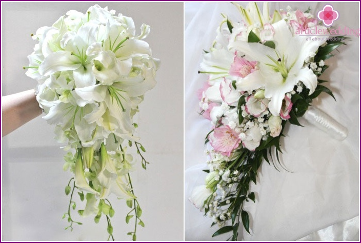 Wedding bouquet of Inca orchids and lilies