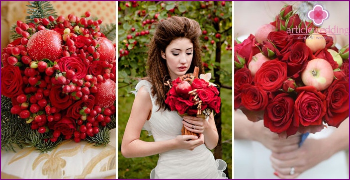 Wedding bouquet of roses and red apples