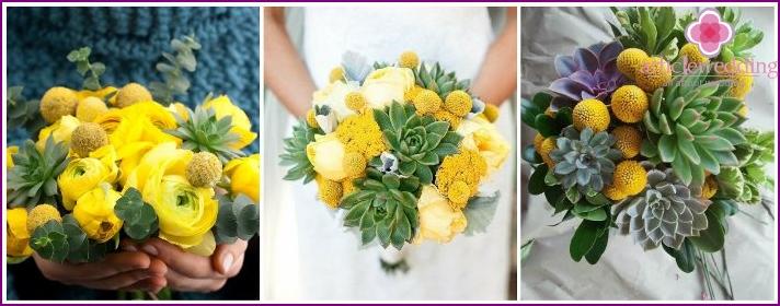 Kukkavaruste morsiamenelle craspediasta ja mehevästä