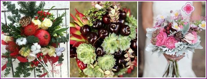 Hienoja morsiuskimppuja yhdessä hedelmien kanssa