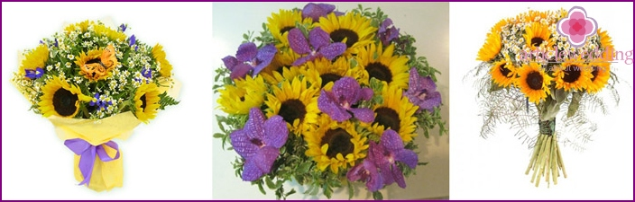 Daisies and orchids harmonize well with sunflowers