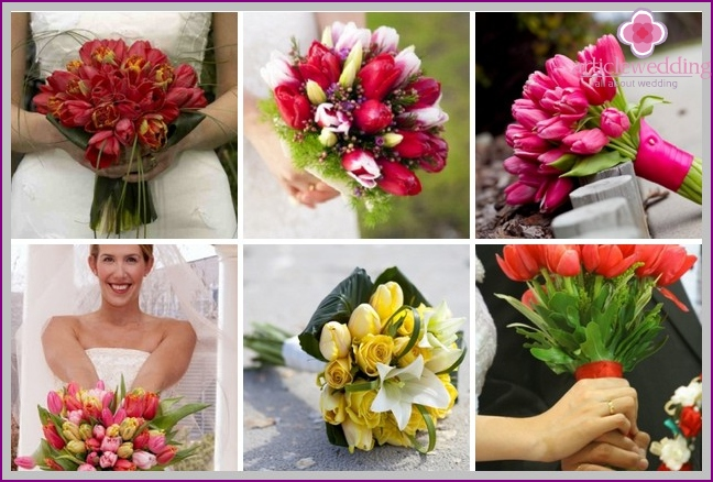 Bright bouquets of tulips