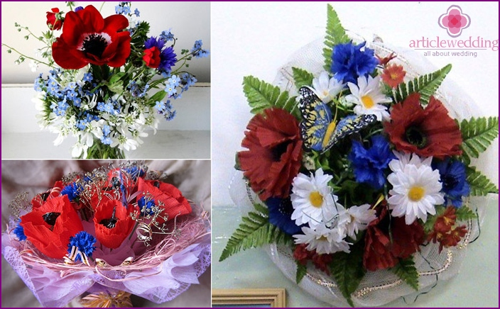 Wedding bouquet based on cornflowers and poppies