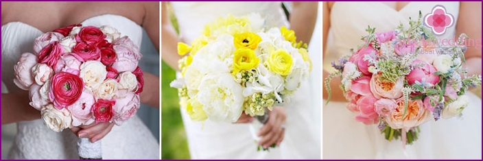 Buttercups of different colors in a bride's bouquet