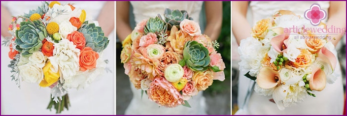 The combination of different shades in a wedding bouquet