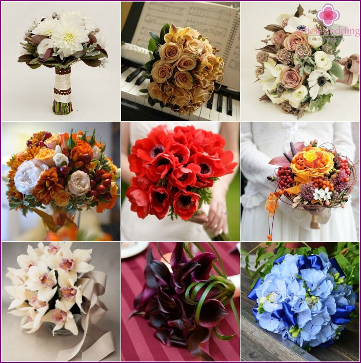 Bridal bouquets for ivory dress