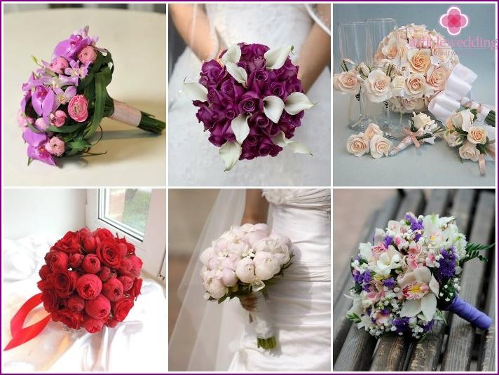 Rundes Blumenarrangement für Braut und Bräutigam