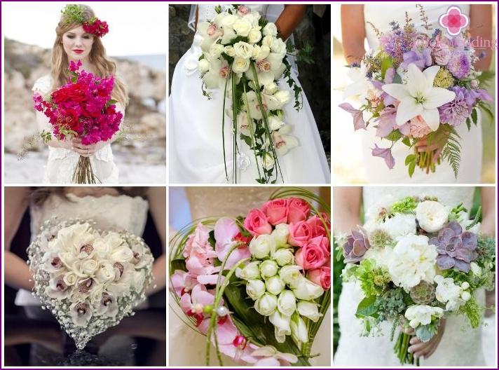 Strukturelle Blumenarrangements im Bild von Braut und Bräutigam