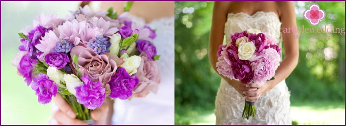 Delicate lilac flowers for a wedding