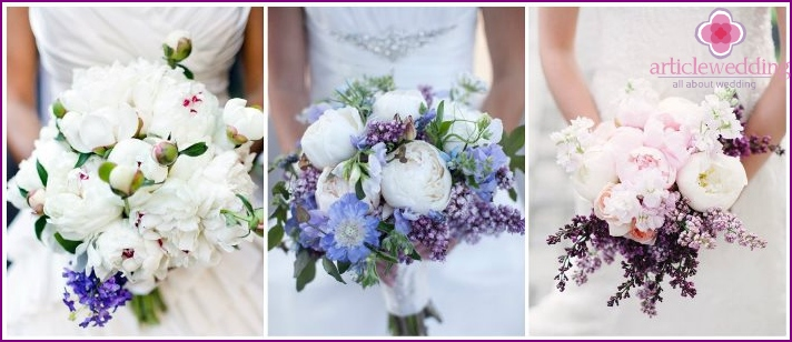 Lilac branches and peonies for a newlywed bouquet