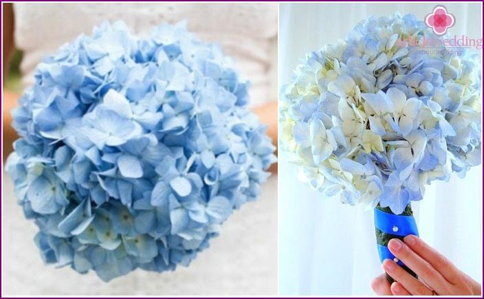 Mono-bouquet with blue inflorescences