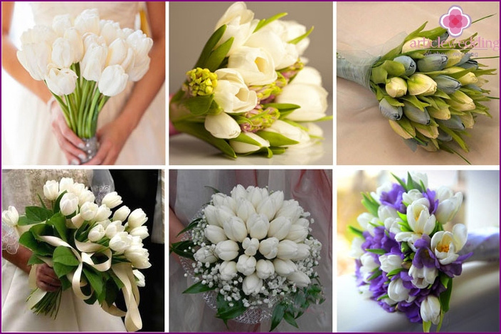 Tulips in a newlywed flower arrangement