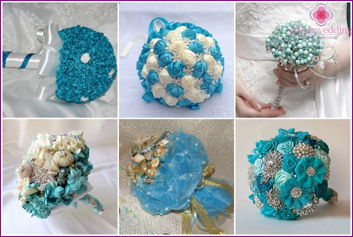 Turquoise wedding arrangements with sweets and beads