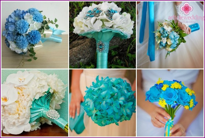 Wedding arrangement with turquoise chrysanthemums