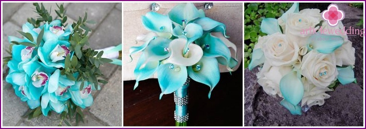 Attributes of a bride with turquoise orchids
