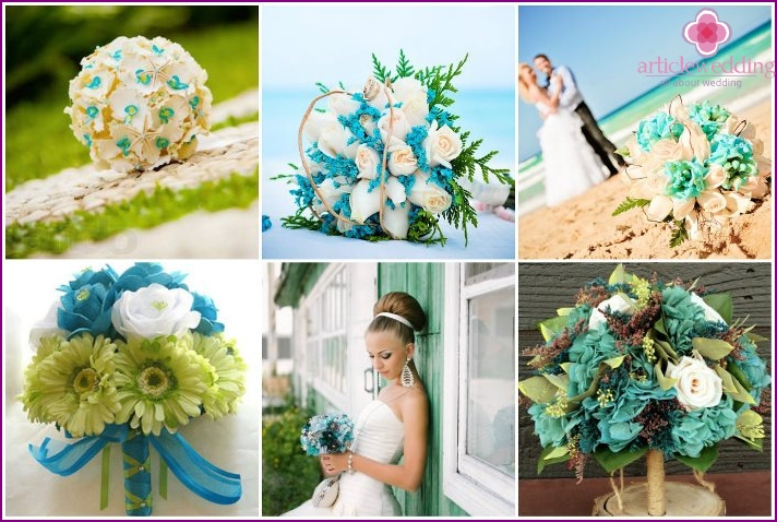 Beautiful turquoise bouquets for the bride
