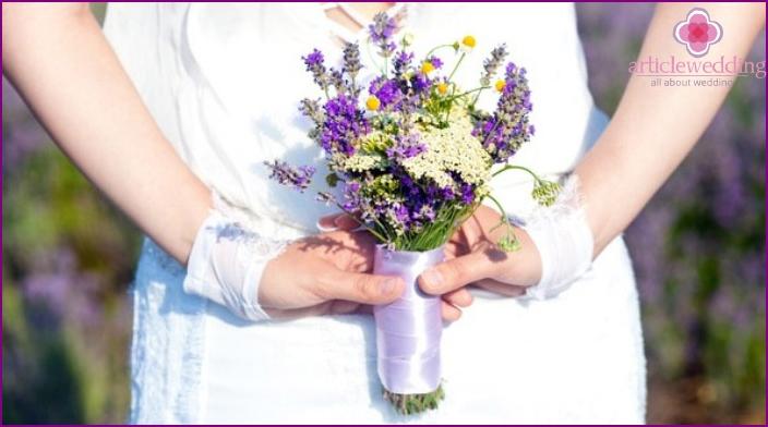 Wedding flowers bride with lavender
