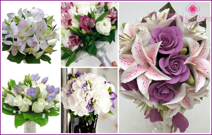 Purple arrangement for the bride with lilies