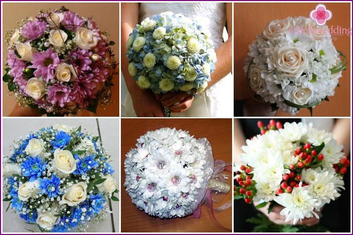 Chrysanthemum arrangement in a bridal bouquet