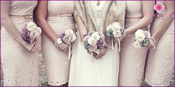 Friends and bride with fabric bouquets