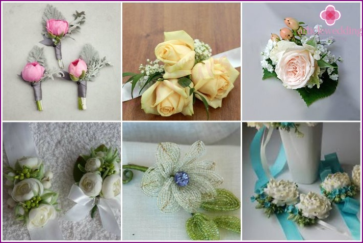 A variety of wedding boutonnieres for brides