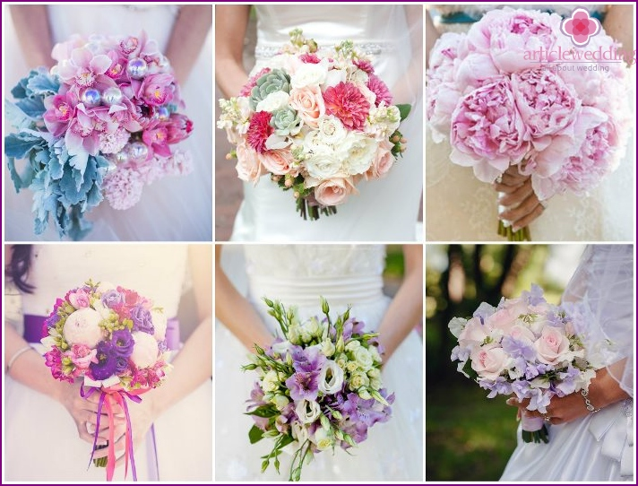 Seasonal flowers in the composition of the bride