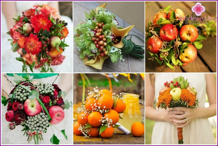 Flower arrangements of a newlywed with fruits and berries