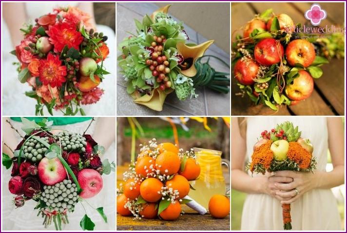 Blumenarrangements eines Jungvermählten mit Früchten und Beeren