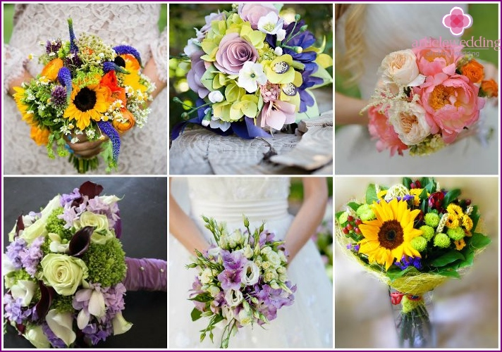 Summer wedding bouquets of the bride