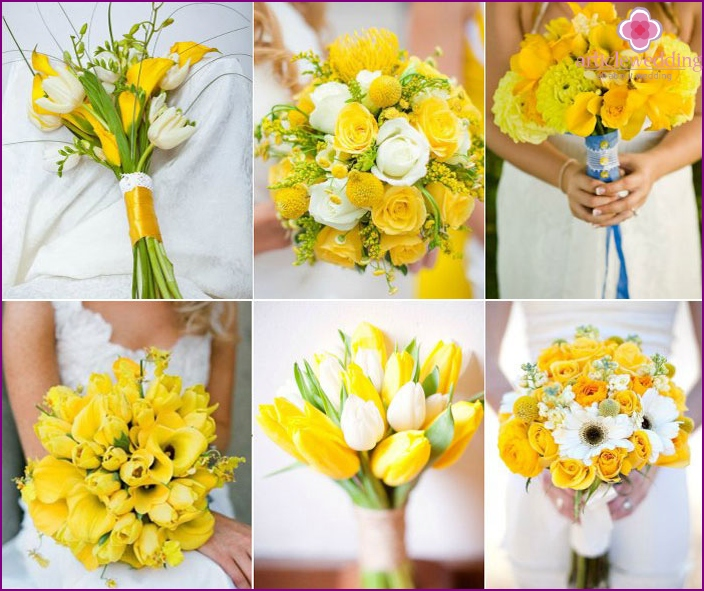 Bright newlywed bouquet with yellow flowers