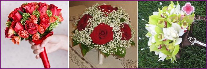 Schöne Blumensträuße für Braut und Bräutigam in Portbuketnitsa