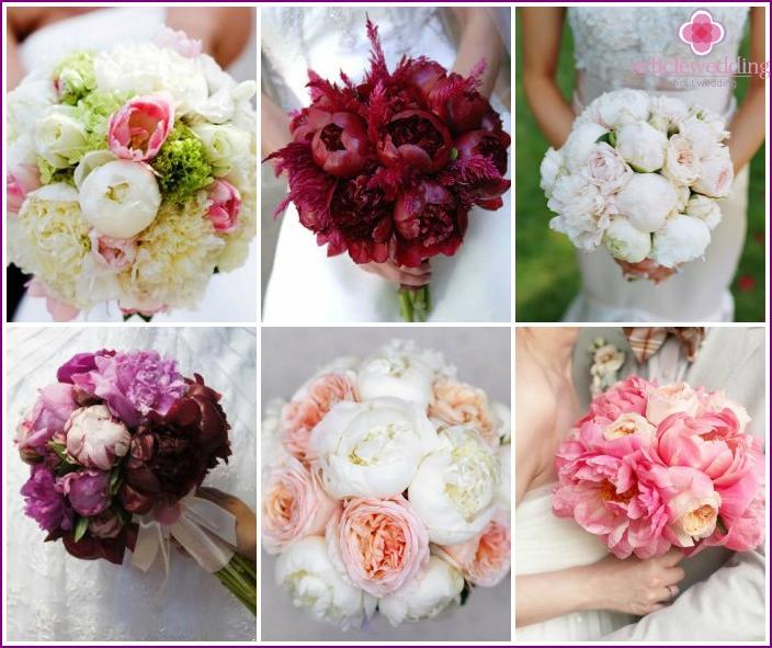Beautiful wedding arrangements with peonies