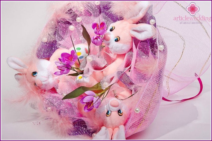 Beautiful wedding bouquet with cute toys