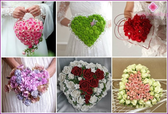 Original wedding bouquet in the shape of a heart