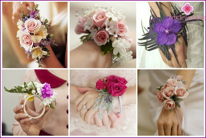Original flowers for the bride in the form of a bracelet