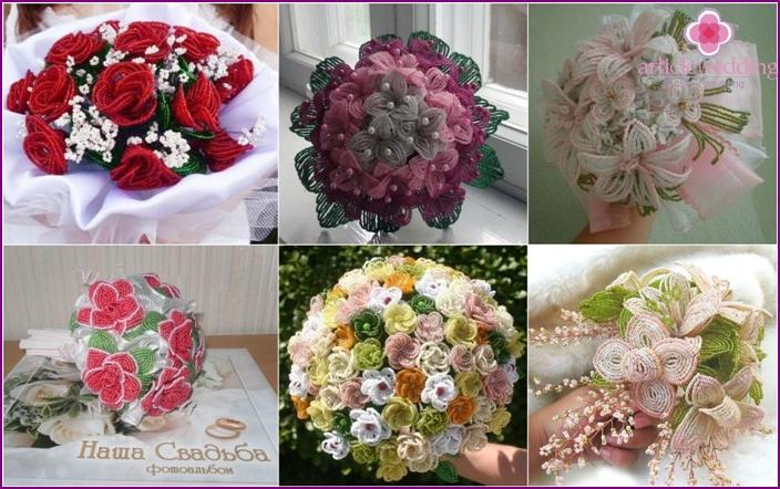 Original flowers of the bride made using beads