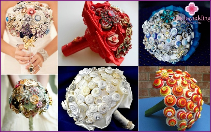 Bridal bouquet materials: brooches and buttons