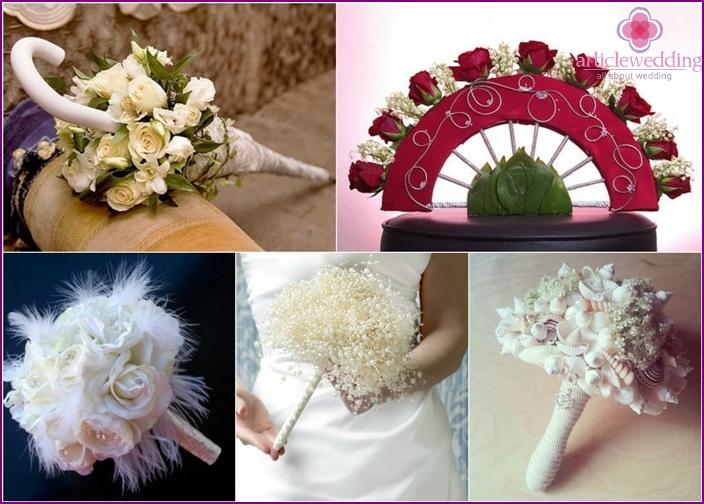 Original floral arrangements for the bride and groom