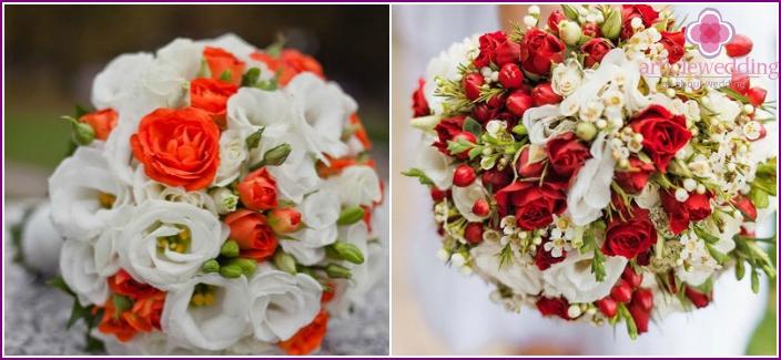 Die Kombination von zarten Eustomas mit Rosen