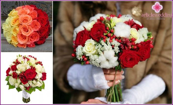 Stilvolle Rosen in verschiedenen Farben