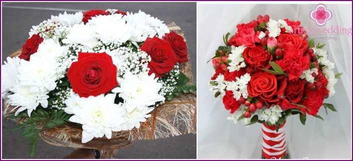 Beautiful combination of roses with white chrysanthemums