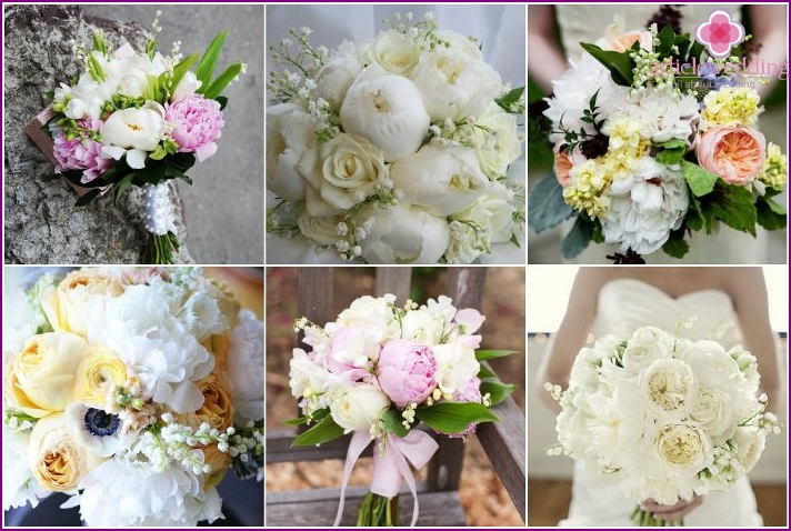 Flower arrangement of a bride with peonies and lilies of the valley