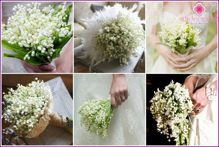 Mono-bouquet for the bride with lilies of the valley