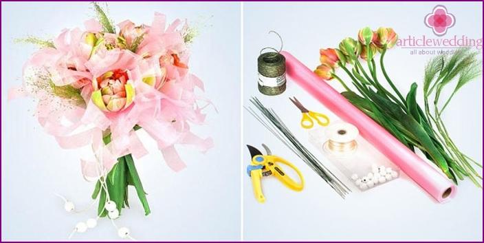 Bouquet understudy with fresh flowers