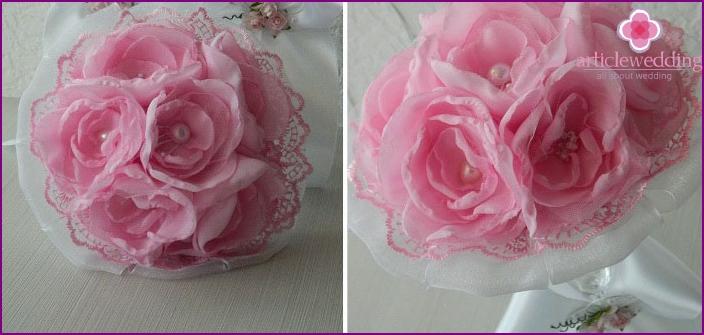 Wedding bouquet understudy with fabric flowers