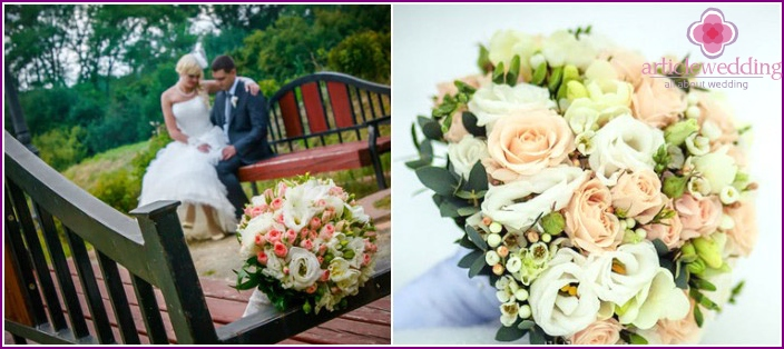 Flower arrangement of a bride from eustoma and freesia